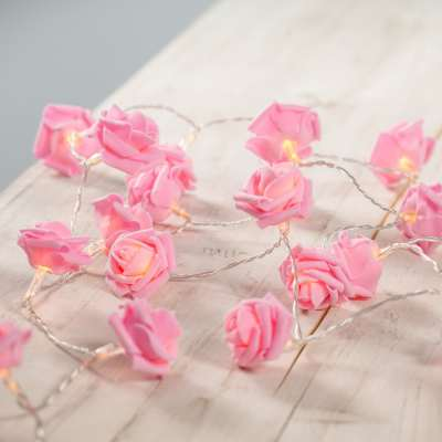 Pink Flower rose led fairy lights