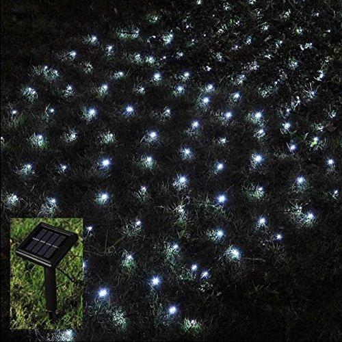 babz 105 led outdoor net fairy lights solar powered