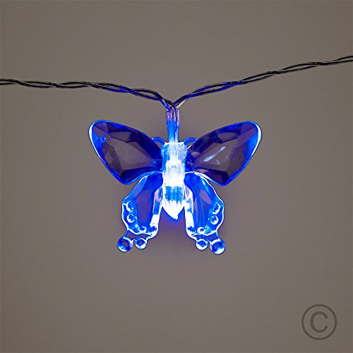 10 Multi-Coloured LED Butterfly Fairy String Lights AA Battery