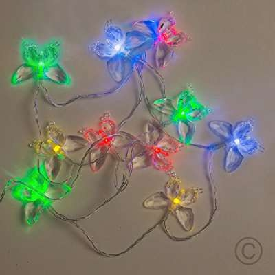 lots of multi-coloured butterfly led string lights