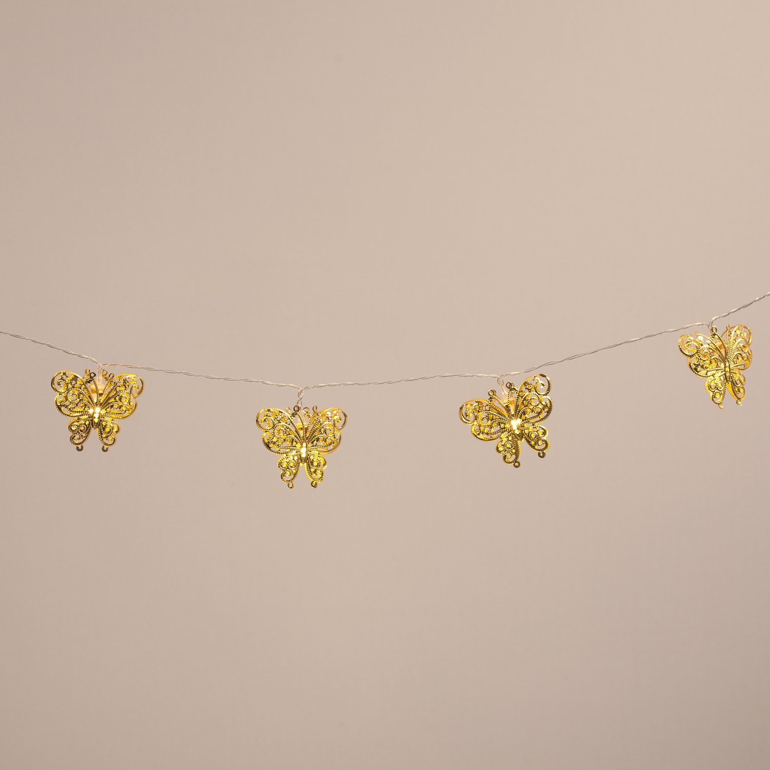 10 Led Gold Filigree Butterfly Battery Operated Fairy Lights