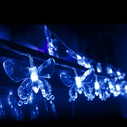 Indoor Butterfly String Lights : 40 Blue LED Butterfly Fairy Lights - AA Battery