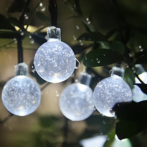 innoo tech solar globe fairy lights 30 led white crystal