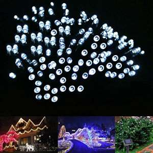le solar fairy lights 17 meters waterproof 100 leds 12 v daylight white portable with light sensor outdoor string lights christmas lights wedding party 0