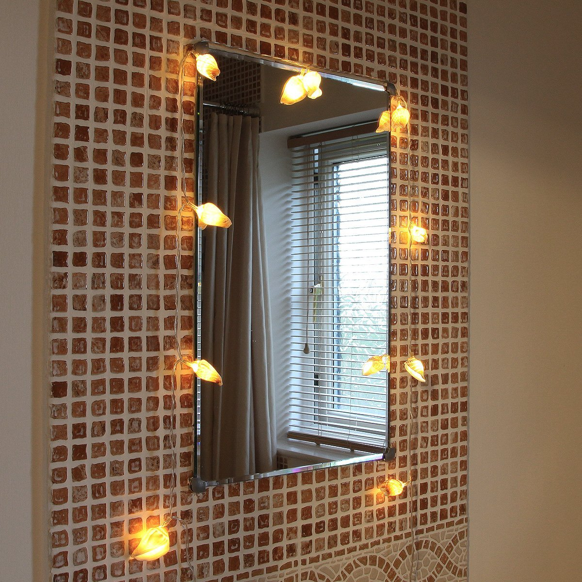 String Lights In Bathroom : Real Sea Shell Battery Operated Fairy Lights