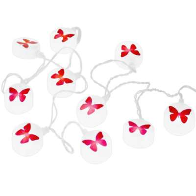 red butterfly fairy lights on white background