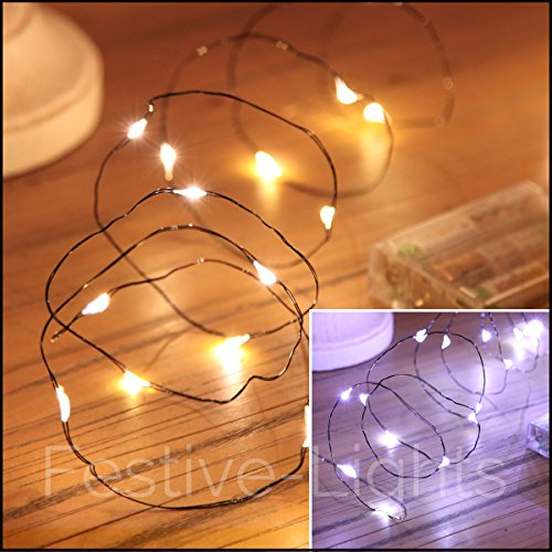 20 LED Black Wire Indoor Battery Operated Micro Fairy String Lights by Festive Lights - Battery ...