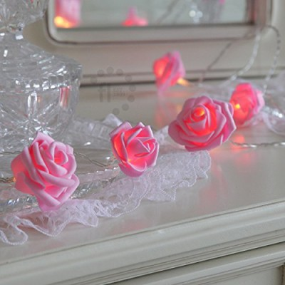 pink rose battery powered string lights