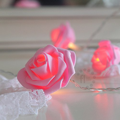 battery operated pink rose bedroom fairy lights with timer