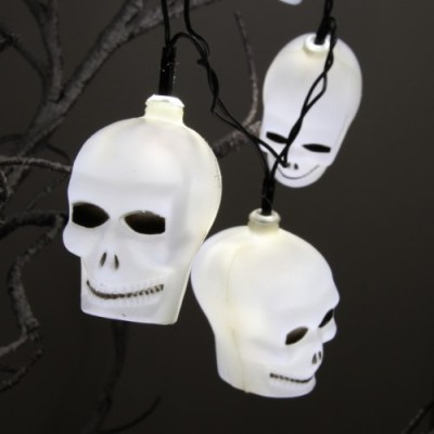 spooky scary skull Halloween fairy lights battery operated