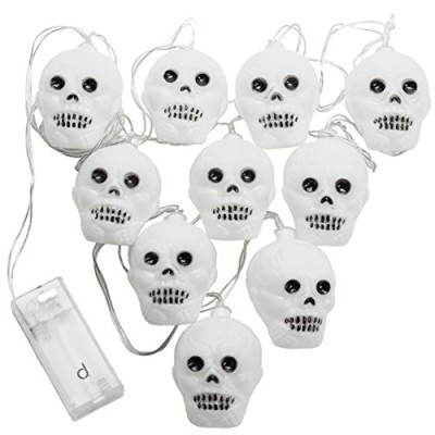 Battery operated white skull Halloween Pirate fairy lights