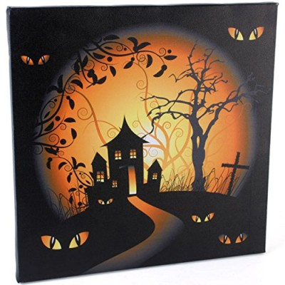Halloween Haunted House LED canvas battery operated