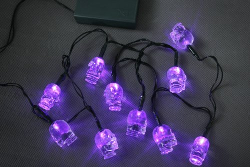 10 Halloween Skull Fairy Lights With Purple Led Battery