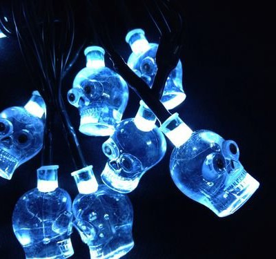 10 blue LED skull fairy lights for Halloween and pirate decorations