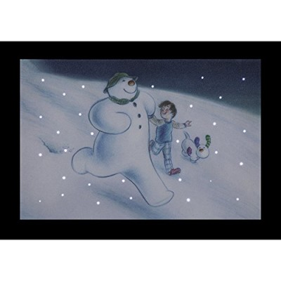 Billy the Snowman and the Snowdog running downhill christmas LED light up canvas battery operated