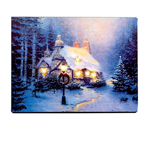 led christmas canvas picture twinkly lights