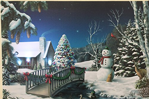 Weihnachtsbilder Usa.Festive Snowman And Christmas Tree Christmas Picture Print With Led And Fibre Optic Lights