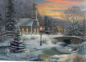 Large Festive Church Winter Christmas Snow Scene Light Up