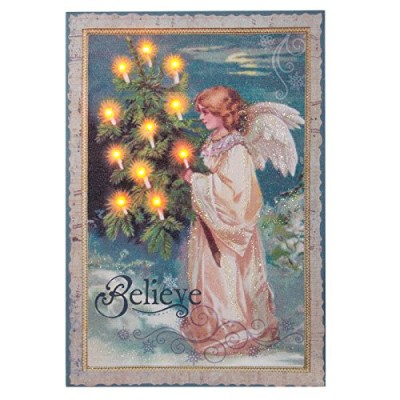Christmas wall art LED canvas with light up candles and an Angel