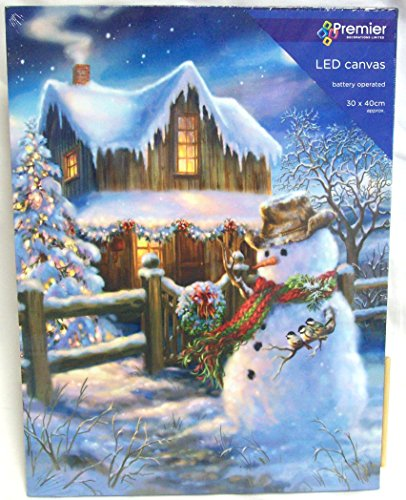 Set Of 2 LED Christmas Canvas Scene Battery Operated Light Up Canvas Snowman - Battery Operated ...