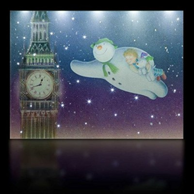 snowman billy and snowdog flying past Big Ben illuminated LED battery canvas Xmas lights