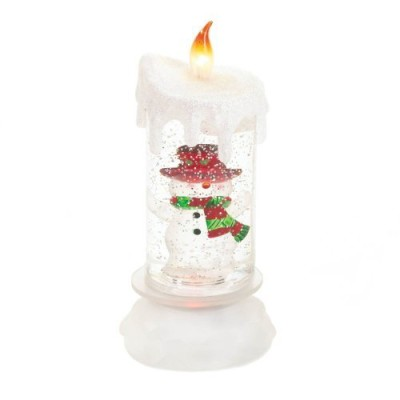 Battery operated christmas decoration artificial candle with snowman design LED