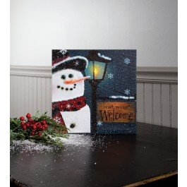 Illuminated Cartoon Xmas canvas print of snowman with LED light